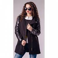 Пальто женские из кашемира с эко-кожей Рита 433 коричневое