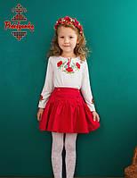 Вишиванка для дівчинки Маки червоні з довгим рукавом, фото 1