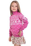 """Теплый вязанный свитер """"Степашка"""" для девочки, цвет светлый клевер"""