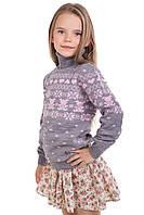"""Теплый вязанный свитер """"Степашка"""" для девочки, цвет светло-серый"""