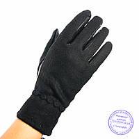 Женские кашемировые перчатки с кожаной ладошкой с плюшевой подкладкой - №F4-4, фото 1