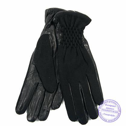 Оптом женские кашемировые перчатки с кожаной ладошкой с плюшевой подкладкой - №F4-3, фото 3