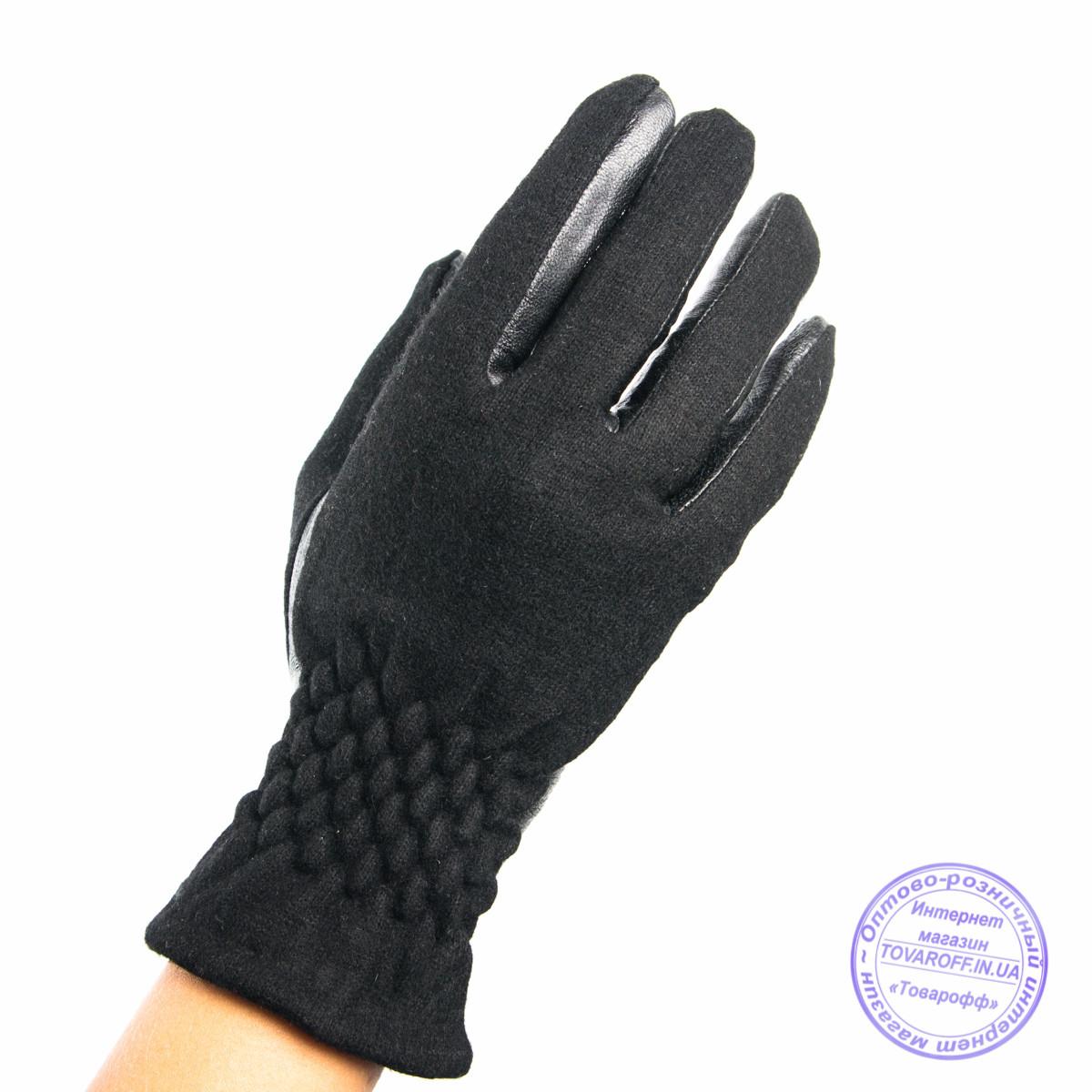 Оптом женские кашемировые перчатки с кожаной ладошкой с плюшевой подкладкой - №F4-3