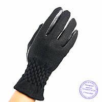 Оптом женские кашемировые перчатки с кожаной ладошкой с плюшевой подкладкой - №F4-3, фото 1