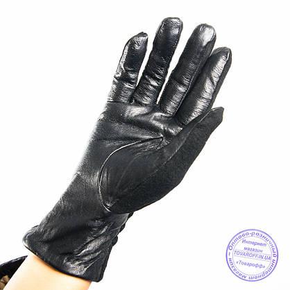 Оптом женские кашемировые перчатки с кожаной ладошкой с плюшевой подкладкой - №F4-3, фото 2