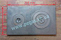 Плита чугунная 2-е конфорки (400х700мм)