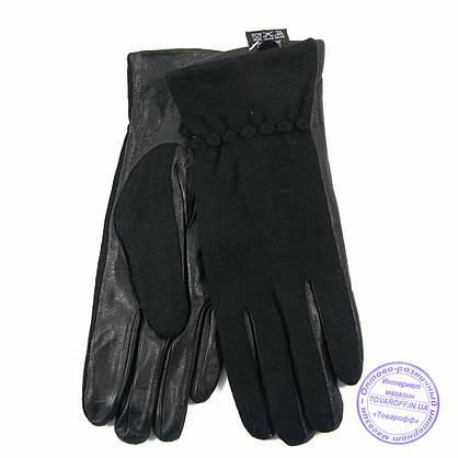 Оптом женские кашемировые перчатки с кожаной ладошкой с плюшевой подкладкой - №F4-4, фото 3