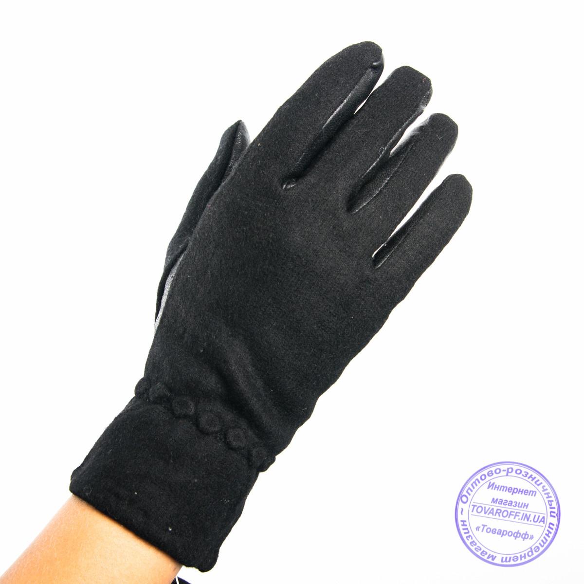 Оптом женские кашемировые перчатки с кожаной ладошкой с плюшевой подкладкой - №F4-4