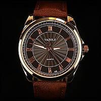 Мужские наручные часы Yazole-336 коричневый ремешок