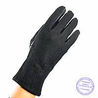 Женские кашемировые перчатки с кожаной ладошкой с плюшевой подкладкой - №F4-7, фото 1