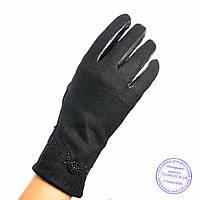 Женские кашемировые перчатки с кожаной ладошкой с плюшевой подкладкой - №F4-1, фото 1