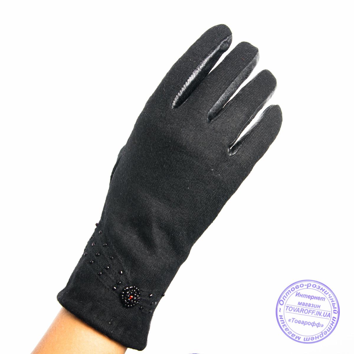Женские кашемировые перчатки с кожаной ладошкой с плюшевой подкладкой - №F4-1
