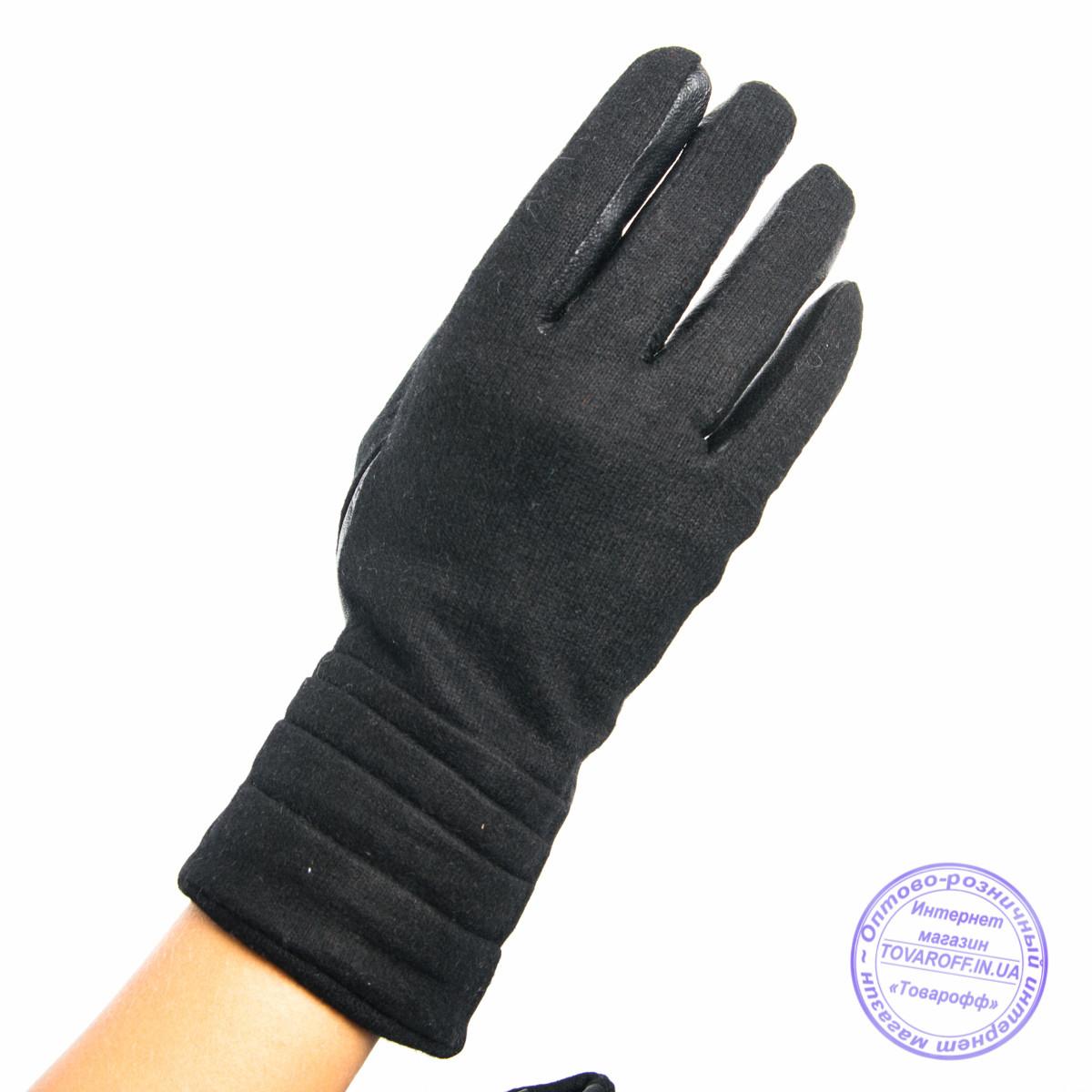 Женские кашемировые перчатки с кожаной ладошкой с плюшевой подкладкой - №F4-2