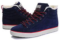 Мужские зимние кроссовки Adidas Runsom Fur (Адидас) с мехом синие