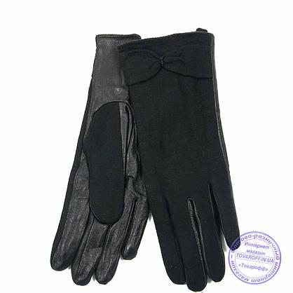Оптом жіночі кашемірові рукавички з шкіряною долонькою з плюшевою підкладкою - №F4-5, фото 3