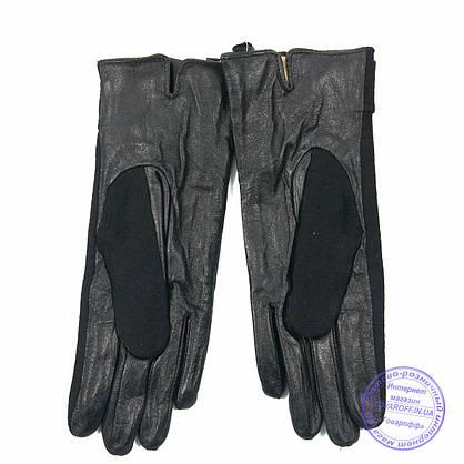 Оптом жіночі кашемірові рукавички з шкіряною долонькою з плюшевою підкладкою - №F4-5, фото 2