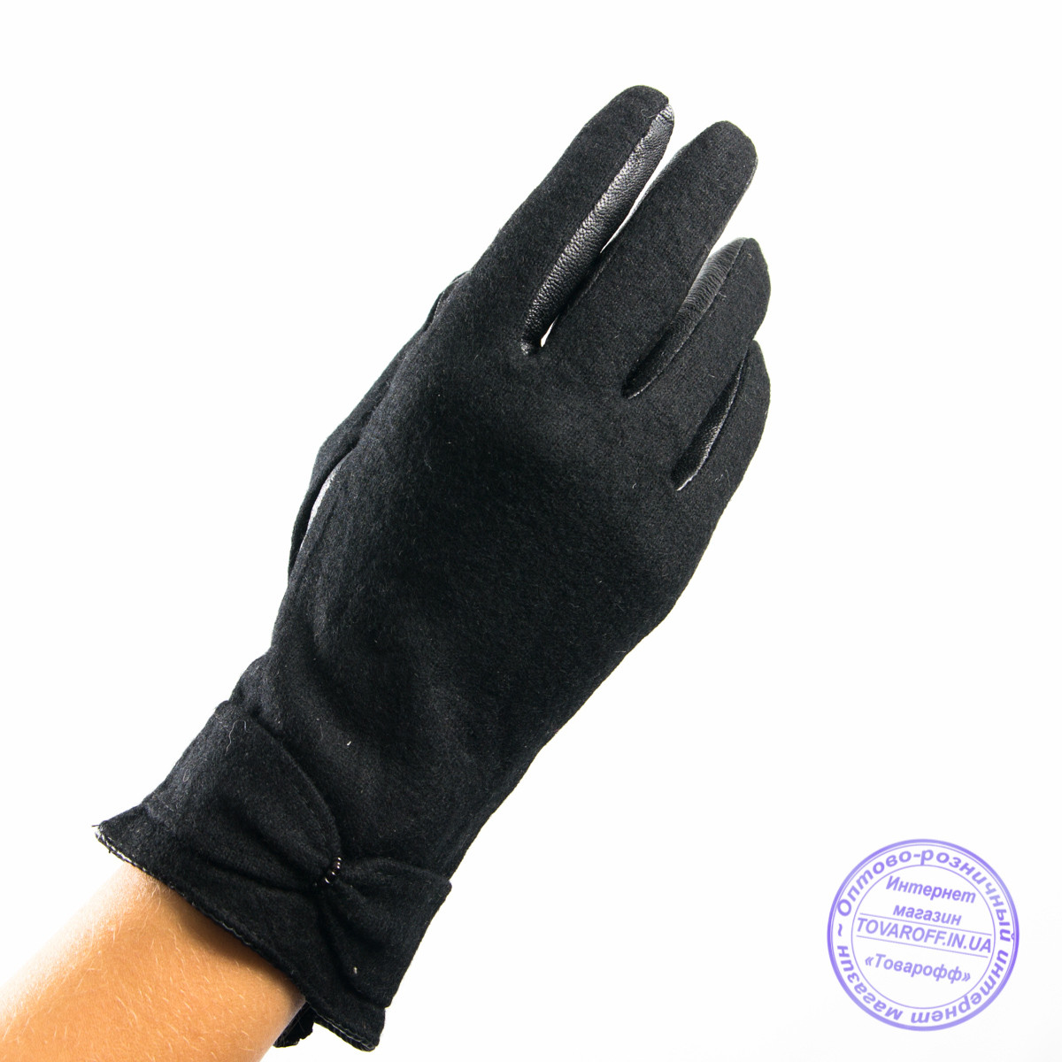 Оптом женские кашемировые перчатки с кожаной ладошкой с плюшевой подкладкой - №F4-5, фото 1