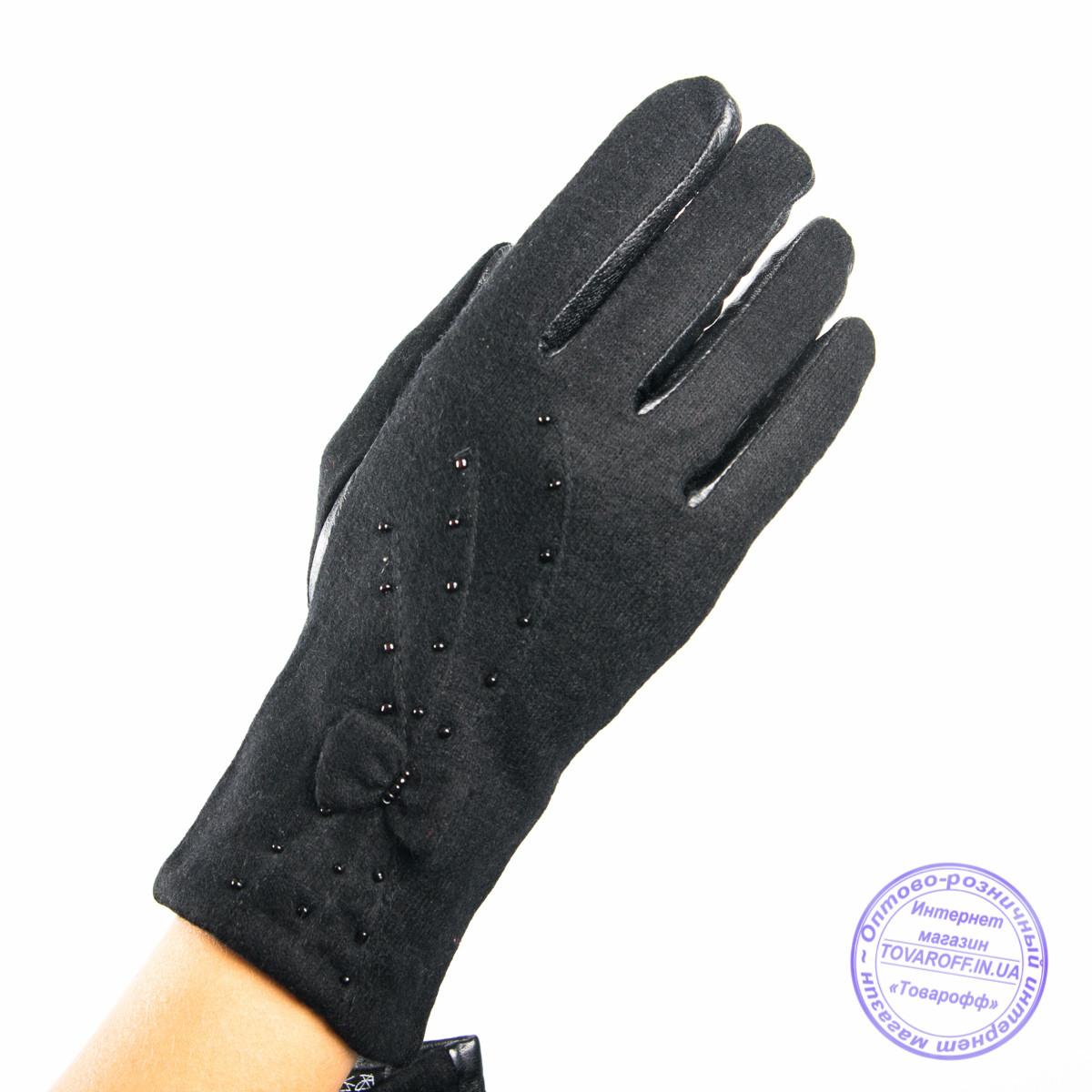 Оптом женские кашемировые перчатки с кожаной ладошкой с плюшевой подкладкой - №F4-6