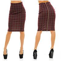 """Женская стильная юбка средней длины 052-1 """"Трикотаж Клетка Змейка"""" в расцветках"""