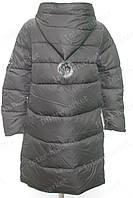 Очень стильное пальто женское зимнее на замке с помпоном черное