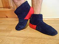 Домашние махровые сапожки мужские ткань пушистая теплая махра