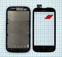 Тачскрин сенсорное стекло для Nokia Lumia 510 with frame black