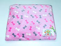 Детский флисовый плед (розовый с бантиками)