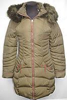 Зимняя удлиненная женская куртка на замке с капюшоном хаки
