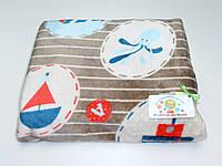 Детский флисовый плед ( с корабликами, морской дизайн)