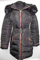 Зимняя удлиненная женская куртка на замке с капюшоном черная