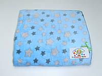 Детский флисовый плед ( голубой со звёздами )