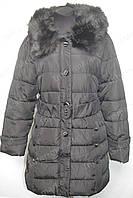Зимнее женское пальто на замке с капюшоном черное