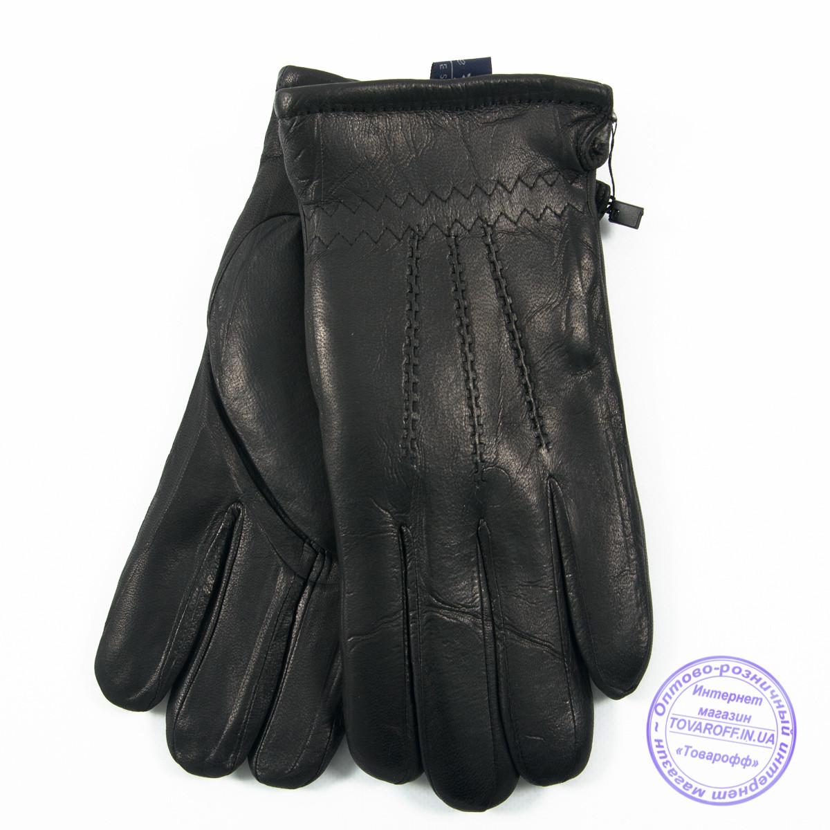 Мужские кожаные (матовая кожа) перчатки зимние на сером шерстяном меху - №M30-1