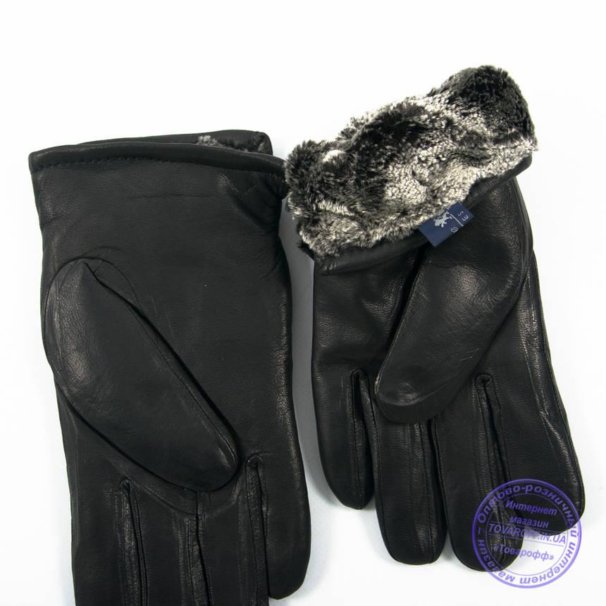 Мужские кожаные (матовая кожа) перчатки зимние на сером шерстяном меху - №M30-1, фото 2