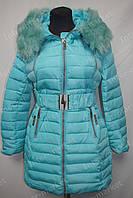 Зимнее женское пальто на замке с капюшоном голубое