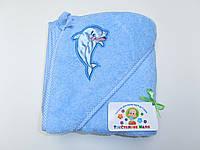 Махровый уголок для купания (голубой с дельфином)