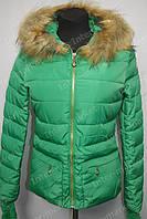 Зимняя женская куртка на замке с капюшоном зеленая
