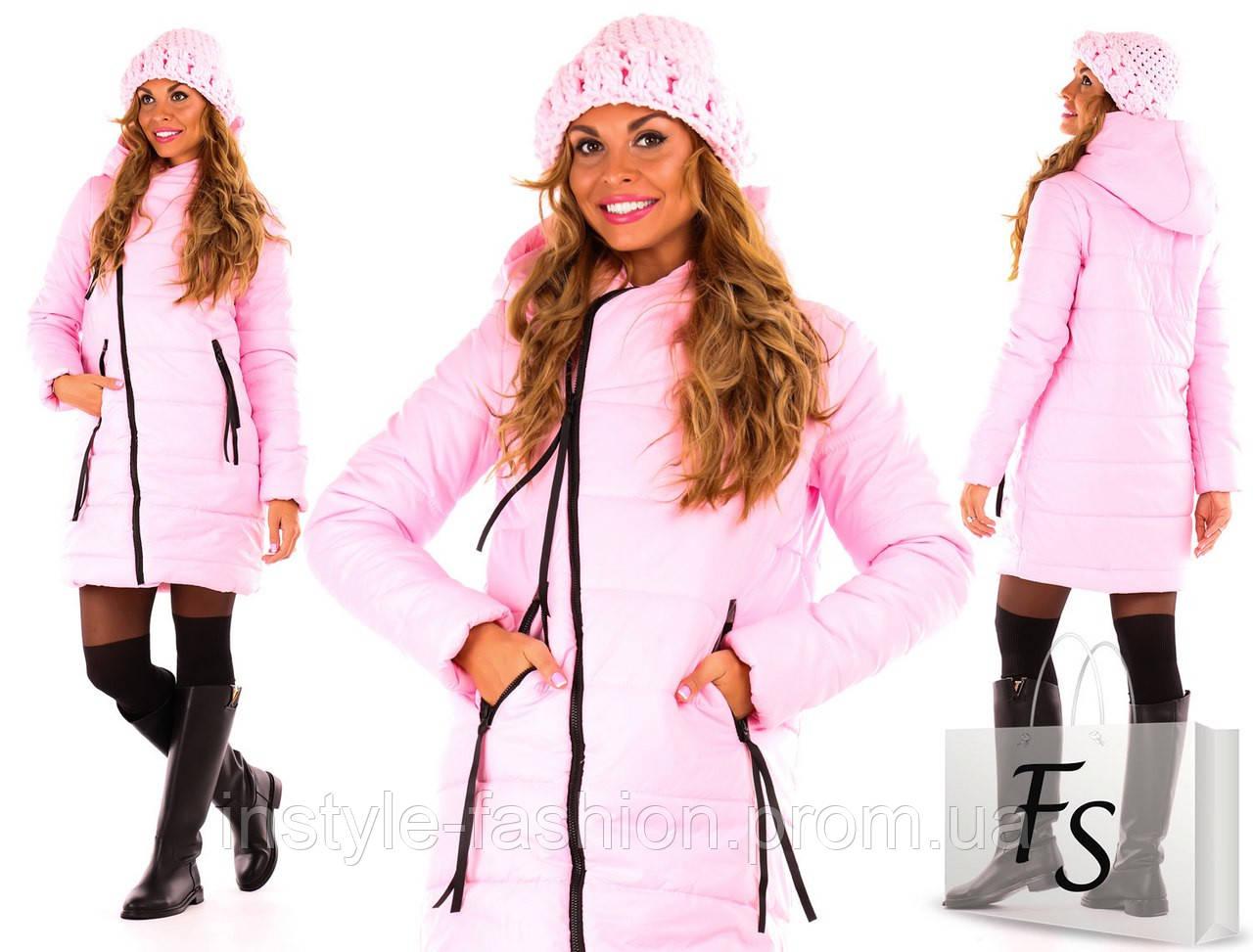 Теплая курточка на синтепоне ткань плащевка цвет розовый