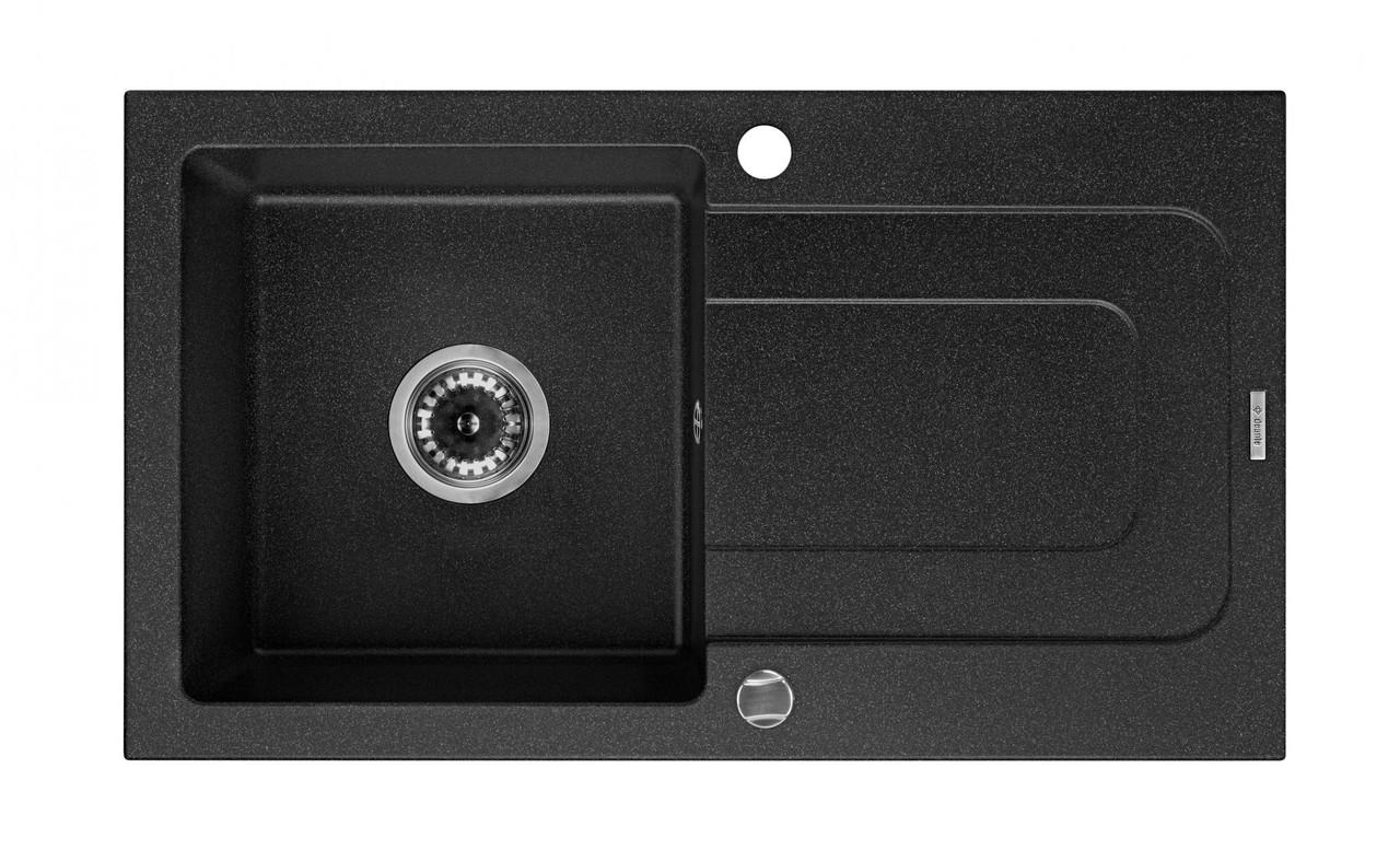 Мийка 1-камерна з полицею Deante FUNK, графітовий граніт, 760х440х160 мм