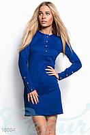 Повседневное трикотажное платье. Цвет синий электрик.