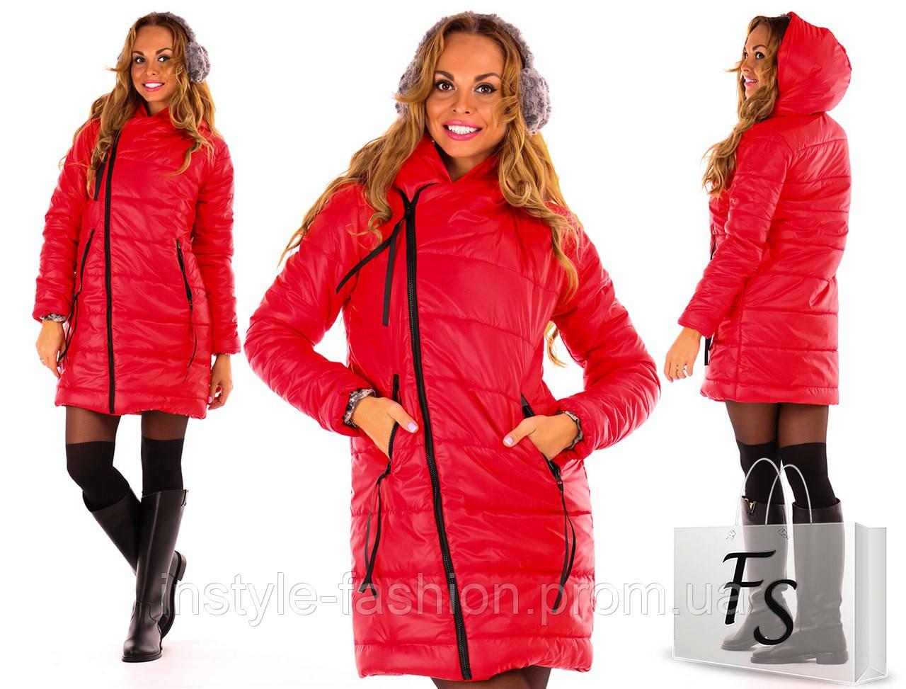 Теплая курточка на синтепоне ткань плащевка цвет красный