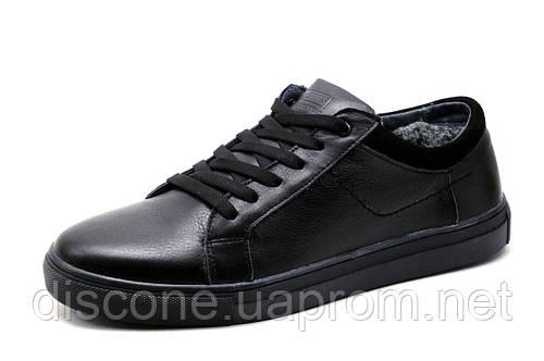 Кроссовки зимние Clarks Multi Shoes, мужские, на меху, натуральная кожа, черные