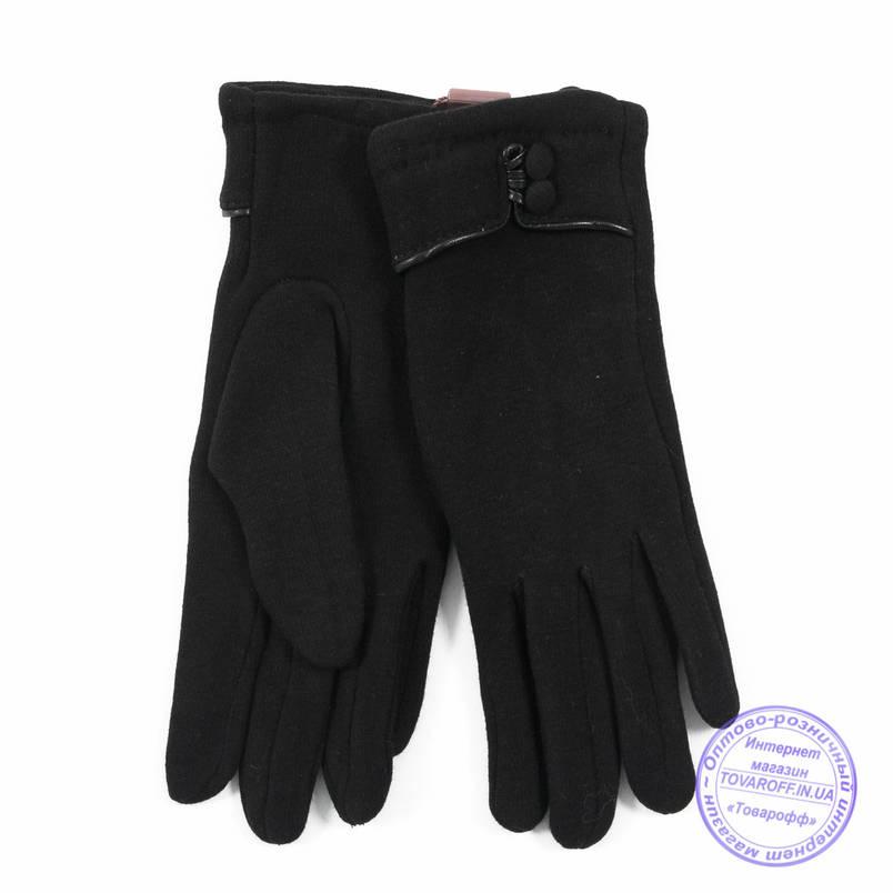 Оптом женские трикотажные перчатки с плюшевым утеплителем - F30-3, фото 2
