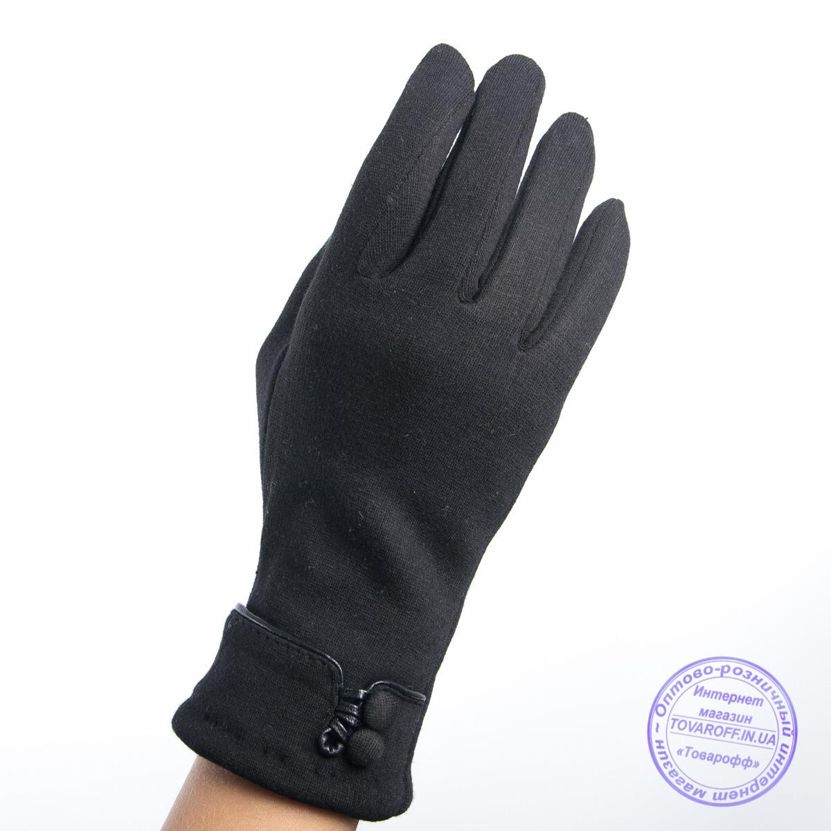 Оптом женские трикотажные перчатки с плюшевым утеплителем - F30-3