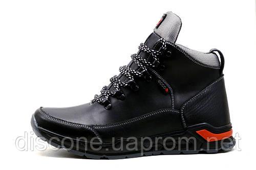 Мужские кроссовки зимние, высокие, на меху, натуральная кожа, черные с серым