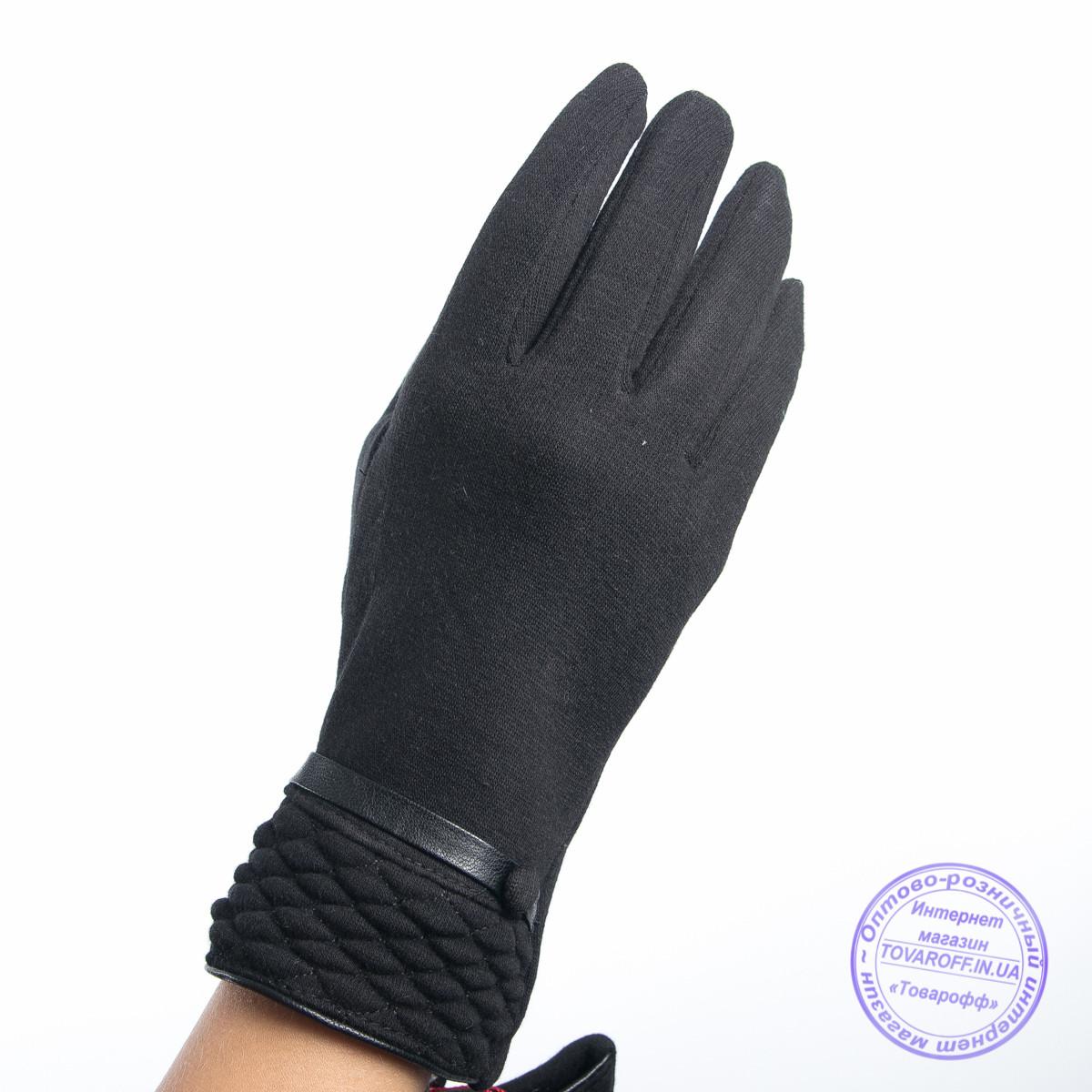 Оптом женские трикотажные перчатки с плюшевым утеплителем - F30-4