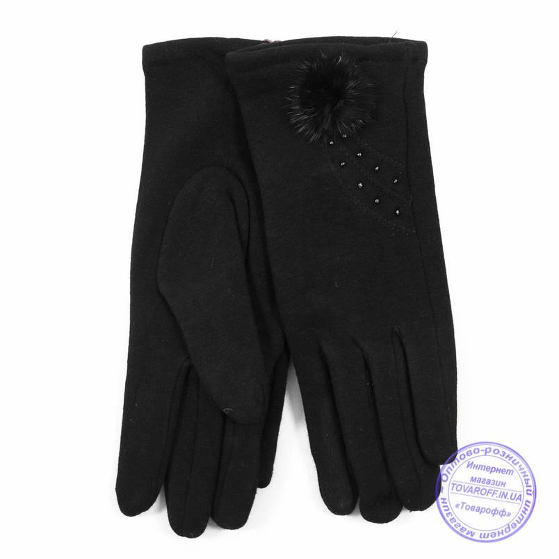 Оптом женские трикотажные перчатки с плюшевым утеплителем - F30-6, фото 2
