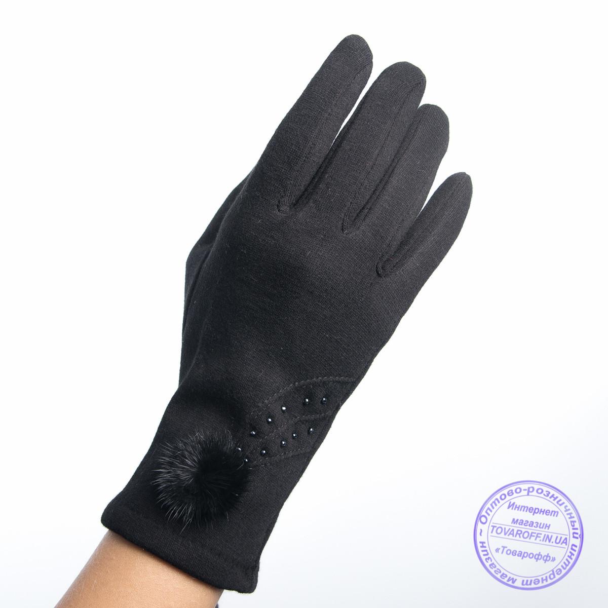 Оптом женские трикотажные перчатки с плюшевым утеплителем - F30-6