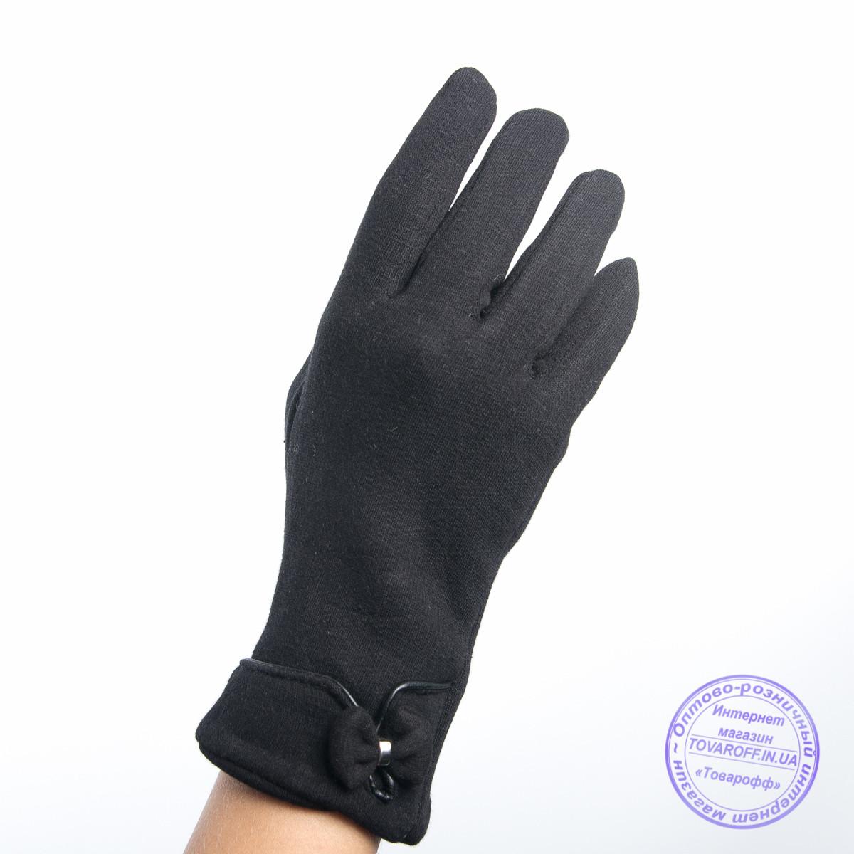 Оптом женские трикотажные перчатки с плюшевым утеплителем - F30-7