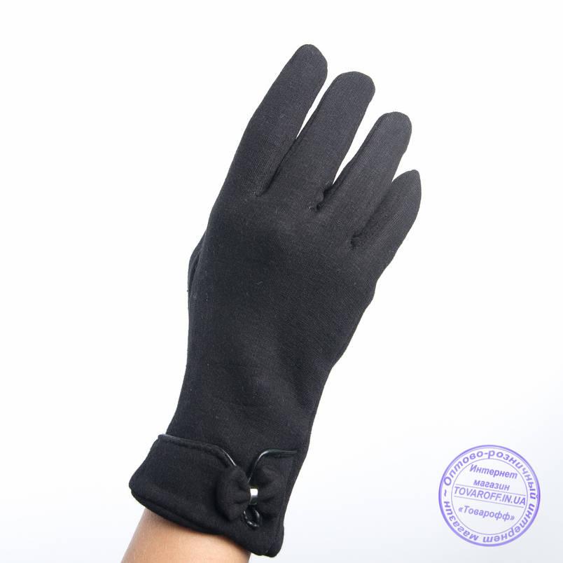 Оптом женские трикотажные перчатки с плюшевым утеплителем - F30-7, фото 2